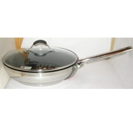 Frying Pan & Glass Lid Nonstick S/S 28cm dia 22cm Long Handle Guaranteed quality ,5mm Aluminium Bottom