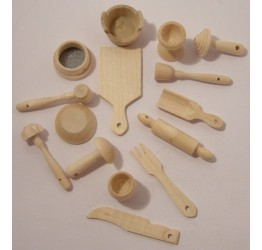 Kitchen Miniatures 15pcs pine wood Guaranteed quality
