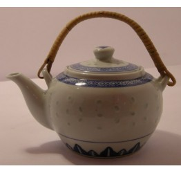 Tea Pot 600cc Rattan Handle Ceramic Rice Pattern Guaranteed quality