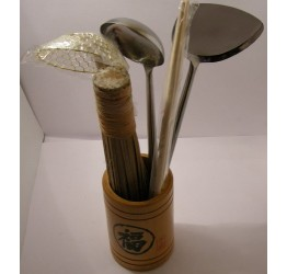 Wok tools set s/s,brass, Superior quality Bamboo Holder,12 reciepe