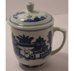 Mug & Lid Landscape 8cm Dia 9.5cm Height Ceramic Rice Pattern Guaranteed quality