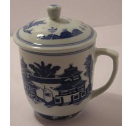Mug & Lid Landscape 8cm Dia 9.5cm Height Ceramic Rice Pattern Guaranteed quality
