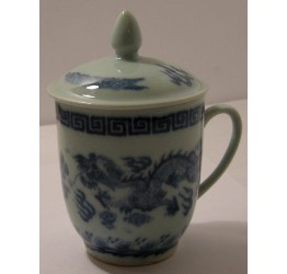 Mug & Lid Dragon 8cm Dia 9.5cm Height Ceramic Rice Pattern Guaranteed quality