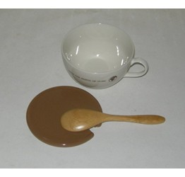 Cup &Lid Ceramic (300ml or1.5cupd) 15.cm long wooden spoon guaranteed quality