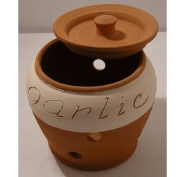 Garlic Storage Jar 10cm dia 12cmH  Terracotta Hand made Guaranteed quality