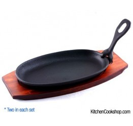 Sizzling Plate 2 pcs cast iron wood bases Guaranteed Quality