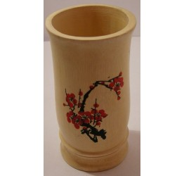 Cutlery Holder 10cm dia 15cm H hand painted flower  Superior quality Bamboo