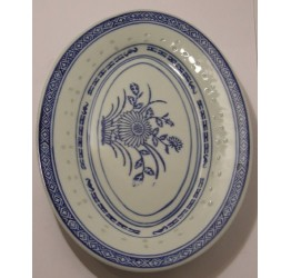 "Oval Platter 30cm/12"" Ceramic Rice Pattern Guaranteed quality"