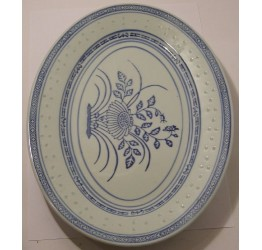 "Oval Platter 22.5cm/9"" Dia Ceramic Rice Pattern Guaranteed quality"